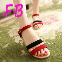 EU43 26.5cm Large Size Nubuck Mixed Colors Bohemia Summer 2016 New Beach Shoes Students Flat Color Matching Female Hasp Sandals