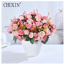 21 heads/bouquet silk rose European style artificial flower high quality bouquet fake wedding home party decoration
