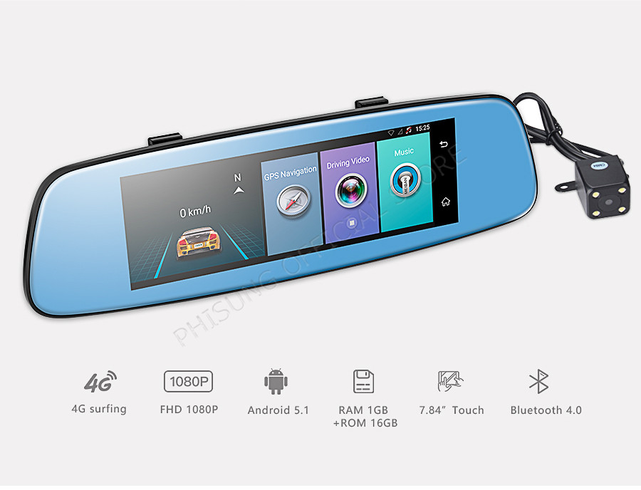 "Phisung E06 4G Car DVR 7.84"" Touch ADAS Remote Monitor Rear view mirror with DVR and camera Android Dual lens 1080P WIFI dashcam 2"