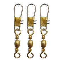 100pcs Barrel Fishing Swivel With Interlock Snap Gold Barrel Swivels Hard Fishing Lure Connector Size 6 8 10(China)