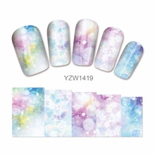 FWC 1 Sheet Water Transfer Sticker Nail Art Decals Nails Wraps Temporary Tattoos Watermark Nail Tools 1419(China)