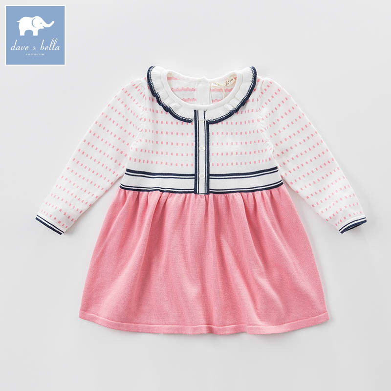 DBB6921 dave bella spring infant baby girls knitted dress fashion birthday party dress toddler children clothes <br>