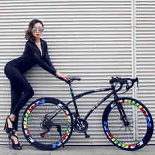 Variable speed dead flying bicycle with men and women students 21 speed bike 26 inch double disc brake racing road cycling