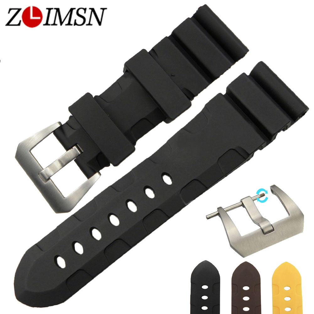 ZLIMSN 24mm NEW Men Black Diving Silicone Watchbands Rubber Watch BAND Strap Replacement With Silver Brushed Buckle PAN103<br><br>Aliexpress