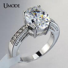 UMODE 4 Prongs Setting 13*10mm 5ct Oval Cut Big AAA+ CZ Engagement Rings For Women Cheap Wedding Jewelry Store AUR0004(China)