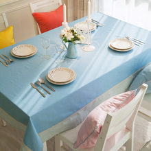 Japanese Style solid color  Tablecloth Light Blue Table Cloth Cotton Tablecloth