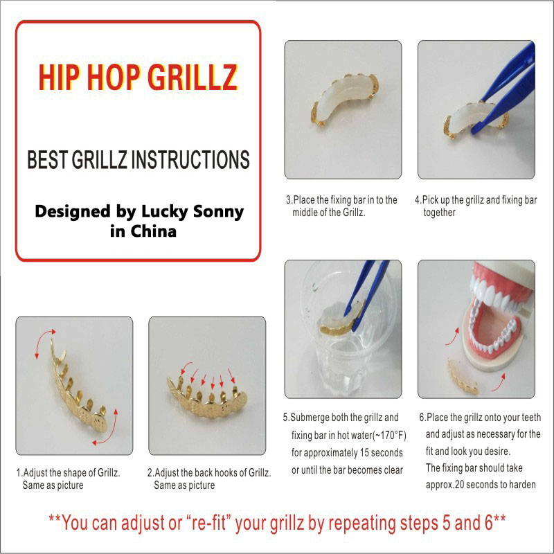 Hiphop Teeth Grillz CZ Iced Out 2 Colors Top&Bottom Dental Grills Tooth Grillz Teeth Caps Bling Body Jewelry for Halloween Party 55