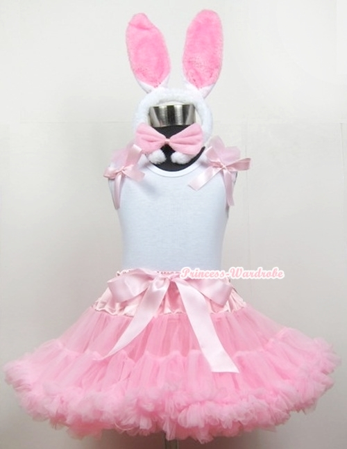 White Tank Top With Light Pink Ruffles &amp; Light Pink Bows With Light Pink Pettiskirt With White Rabbit Costume<br>