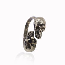European And American Style Retro Vampire Kiss Of Death Two Skull Head Ancient Bronze Plating Alloy Rings Wholesale JZ082