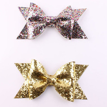 Kids Christmas Large Gold Glitter Sequins BowKnot Hair Clips For Girls Newborn Headwear Hair Accessories Glitter Felt Hair Bow(China)