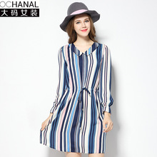 Buy 2017 oversize v-neck women clothing dresses large size women's spring new drawstring thin loose stripe chiffon long sleeve dress for $19.61 in AliExpress store