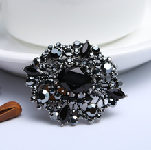 New Arrival Women Black Crystal vintage Flower Brooch Scarf Buckle For Women Antique Silver Brooches & Pins(China)