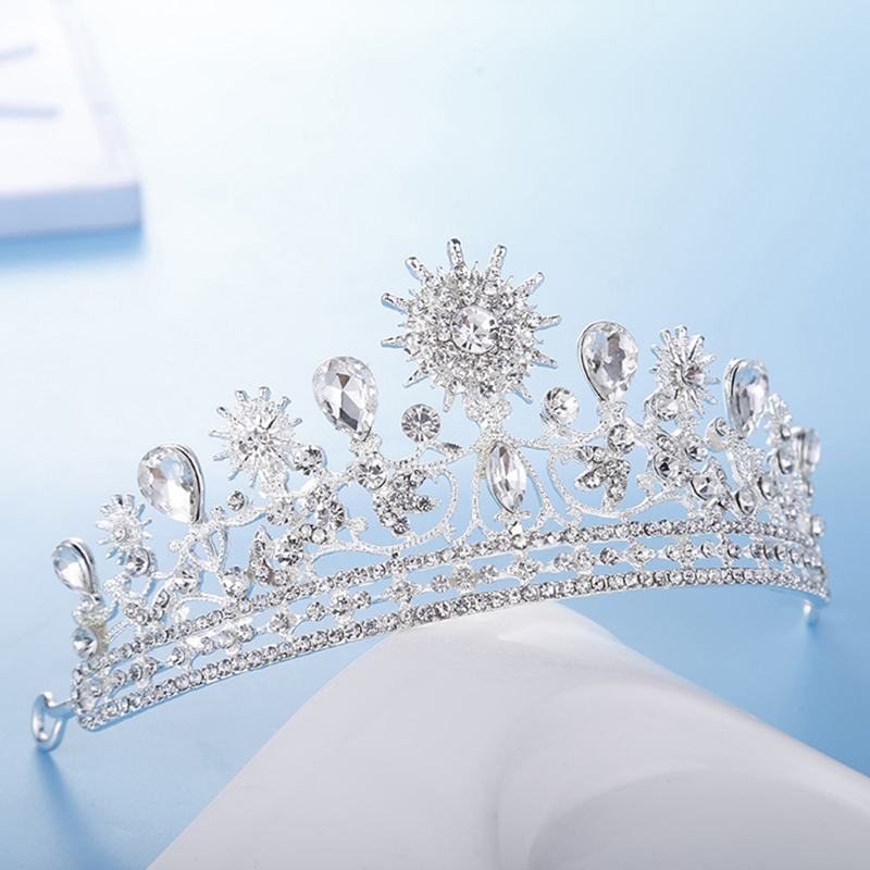 Bride Rhinestone Crown Headband Wedding Crown Queen Bridal Tiaras Accessories Marriage Hair Jewelry Ornaments