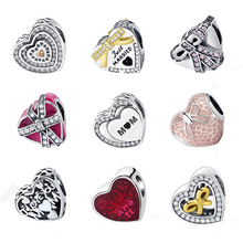 100% Authentic 925 Sterling Silver Latin Love Heart MOM Glaze Magenta Present Openwork Charm Bead Fit Pandora Bracelets Jewelry(China)