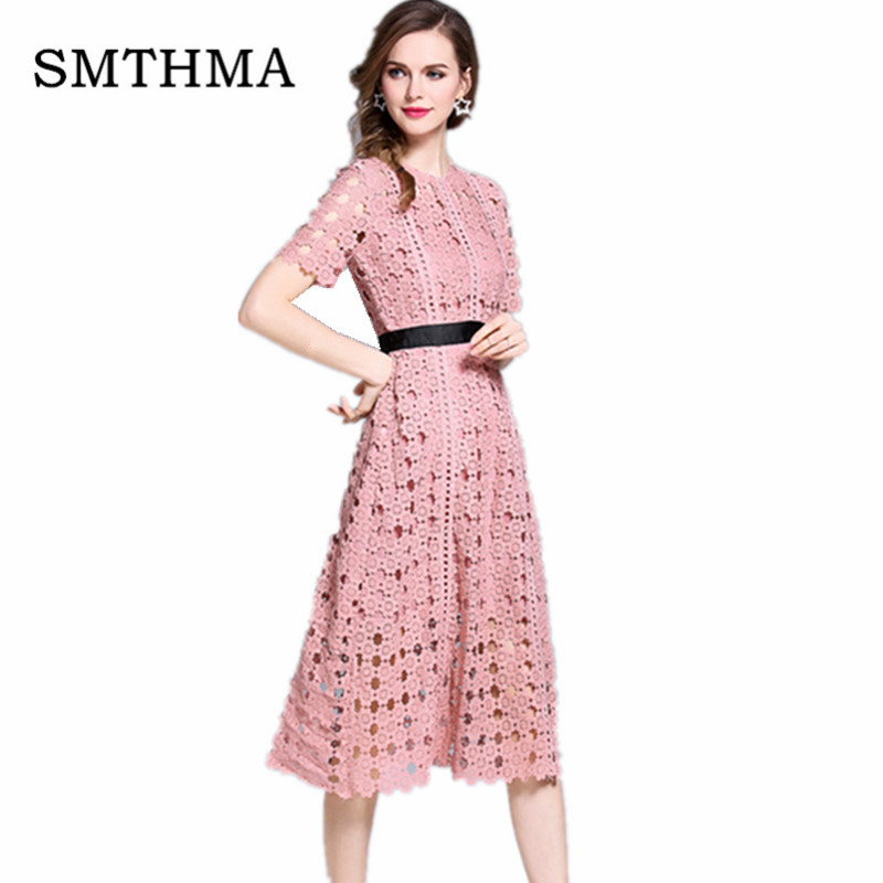 SMTHMA 2019 New Arrival Chic Gorgeous White Pink Elegant Lace Hollow Out  Dress Women Fashion Short sleeve Dress Summer Dress
