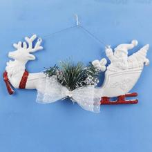 White Christmas Tree Hanging Decor Elk pulling cart Santa ClausHome Door Window Ornaments Christmas Decoration Xmas Gift 15