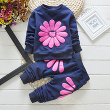 BibiCola  fashion children bow sunflower girls clothes set baby girls spring clothing sets toddler kids casual tracksuit set
