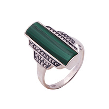 Istone brand Luxury Top Quality Sterling Silver Trendy Design Natural Malachite Stone Rings For Women 2016 Fashion Jewelry