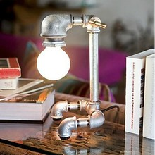 Table Lamps Metal Water Pipe Table Light In Industrial Loft Table Beside Desk Light for Bedroom Living Study Room Lighting Decor