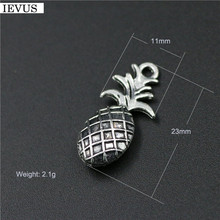 Hot selling 6 Pieces/Lot 11mm*23mm Antique Silver Plated fruit charms pineapple charm ananas charm for jewelry making