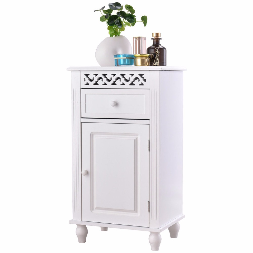 Giantex Storage Floor Cabinet Bathroom Organizer Floor Cabinet Drawer Kitchen White Modern Bathroom Furniture HW57018 2