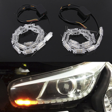 Flexible LED Strip Switchback Car DRL LED Daytime Running Light Turn Signal Light Flowing yellow steady Crystal led bar DRL