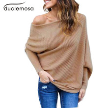Duclemosa Black Off Shoulder Knitted Blouses Women Elegant Batwing Sleeve Jumper Pull Femme Winter Casual Loose Pullover(China)