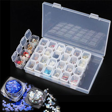 28 Grids Nail Art Storage Box Nail Dust Collector Jewelry Charms Sequines Rhinestone False Nails Container Nails Accessoires