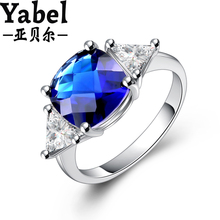 Luxury Bijouterie New Blue Gem Stone  Ring With AAA Zircon Crystal CZ for Women Engagement Rings Jewelry size 7 8 9 anneau