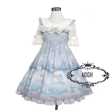 2017 Cute Japanese Swan Printed Chiffon Ruffles Braces Dress Women's Sweet Bow Lolita JSK Sleeveless Dresses