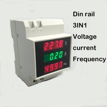 3IN1 Din rail LED display voltage current frequency meter 80-300V 200-450V 0-100A voltmeter ammeter three in one(China)