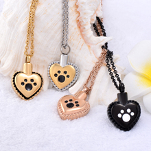 IJD8647 Hold Pet Paw Print On My Heart Cremation Necklace Ashes Holder Keepsake Stainless Steel Memorial Urn Jewlery Women Man