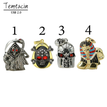 Metal Diamond Skeleton Head Skull Chain USB Flash Drive USB2.0 Pen Drive 32G Memory USB Stick U Disk PenDrive 16G 8G 4G