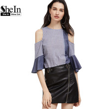 SheIn Women Blouses 2017 Navy And White Striped Bow Back Cold Shoulder Ruffle Sleeve Top Half Sleeve Color Block Blouse