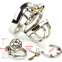 Buy NEW 304 Stainless Steel Chastity Device Men Cock Belt Penis Cage Cock Ring Sleeve Male Chastity Device BDSM Sex Toys Men