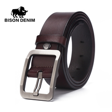 BISON DENIM 2017 new brand designer leather belt ,belts for men jeans cow leather,Top Layer leather Belts for men's W71152(China)
