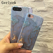 Gerleek For iphone 5s 5 SE 6 6s X 6/7/8 plus Blue Gold Granite Marble Stone image Painted Matte Plastic Phone Case For iphone X(China)