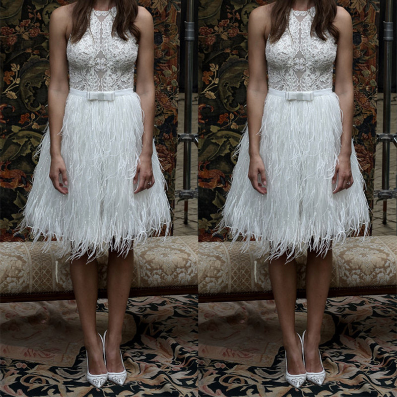 Vestidos de Fiesta 2016 Short White Halter Feather Prom Dresses Knee Length Formal Party Gown Plus Size Robe De Soiree 2016 Prom169