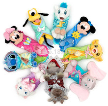 Cute Babies Baby Mickey Minnie Pluto Stitch Lion Simba Marie Cat Bear Hercules Pegasus With Blanket Plush Toy Children Gifts