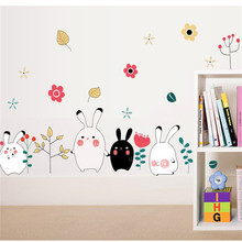 Black And White Cartoon Rabbit Rabbit Children Room Decoration Bedroom Necessary Boutique Sofa Wall Stickers(China)