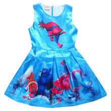 Z&Y 4-12Years Trolls Dress Poppy Summer Dress Girl Toddler Dress Sleevesless Magic Fancy Cosplay Kids Costumes Vestidos Menina(China)