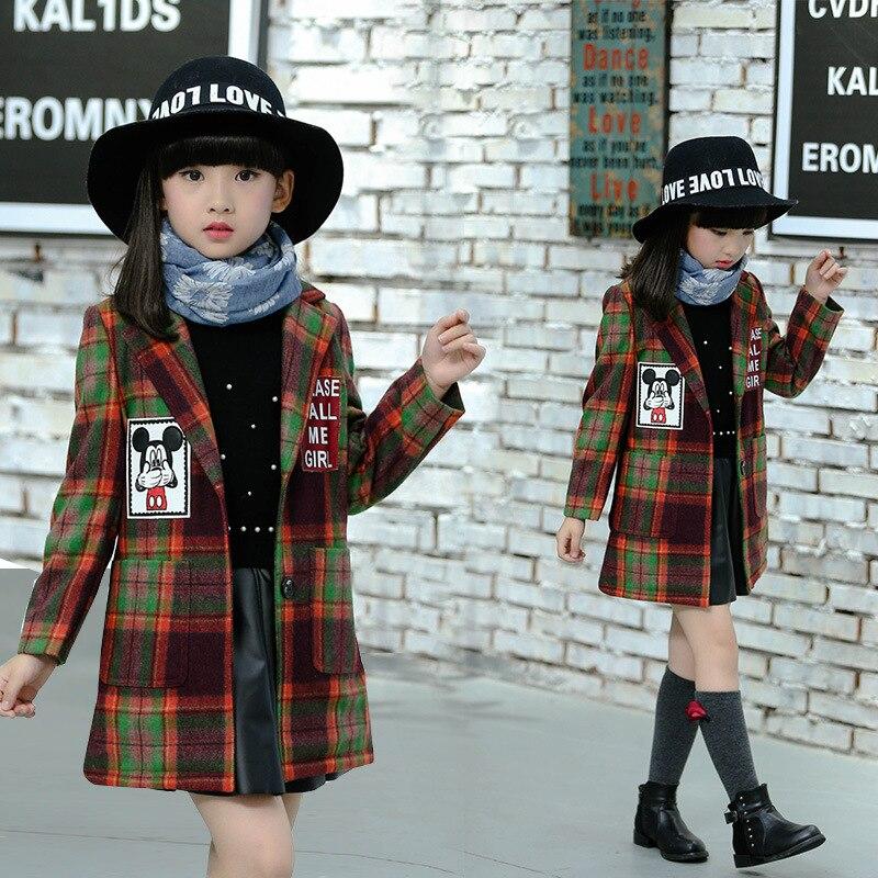 The New 2016 British Childrens Wear Girls Winter Coat Checked Suit Jacket Children<br>