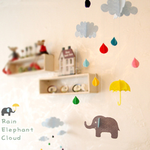 3D Hanging Cloud Rainy Umbrella Elephant DIY Happy Birthday Felt Craft Party Kids Room Party Decoration Tags Photography Props