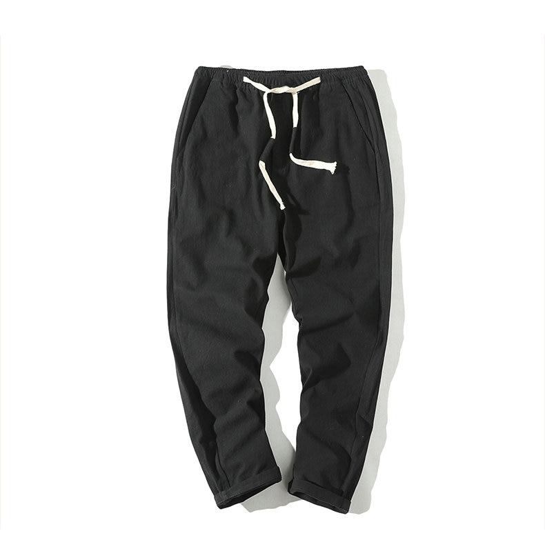 Cotton Linen Joggers Black Men's Harem Pants 6