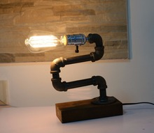 Loft Living Designer Lifestyle Cage Water Pipe Desk Light Top Table Lamp LED Antique Steel Piping Retro Nostalgic Cafe Bar Store