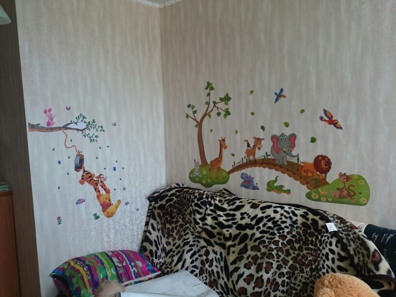 HTB1OsbEjm3PL1JjSZFtq6AlRVXaX - 3D Cartoon Jungle wild animal tree bridge lion Giraffe elephant birds flowers wall stickers for kids room living room home decor