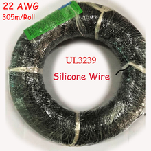 305m/Roll UL3239 22AWG High-Voltage Silica Wire,0.39mm2 Soft  Silicone Silica Gel Wire Tinned Copper Rubber Cable DHL