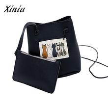 Xiniu Quality 2pcs Cute Fashion Bucket Cat Ladies Hand Bags Cat Bag Mini Flap Tote Women Bag Messenger Crossbody Tote Bag(China)