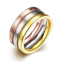 3 pcs ring set stainless steel creative Rome number rings for women fashion simple all match gold played men jewelry gift 2016(China)