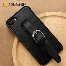 CASESHIP Genuine Leather Phone Cases For iPhone 7 Plus Adjustable Wrist Strap Luxury Protective Cases For iPhone 7 8 6 Plus Capa(China)